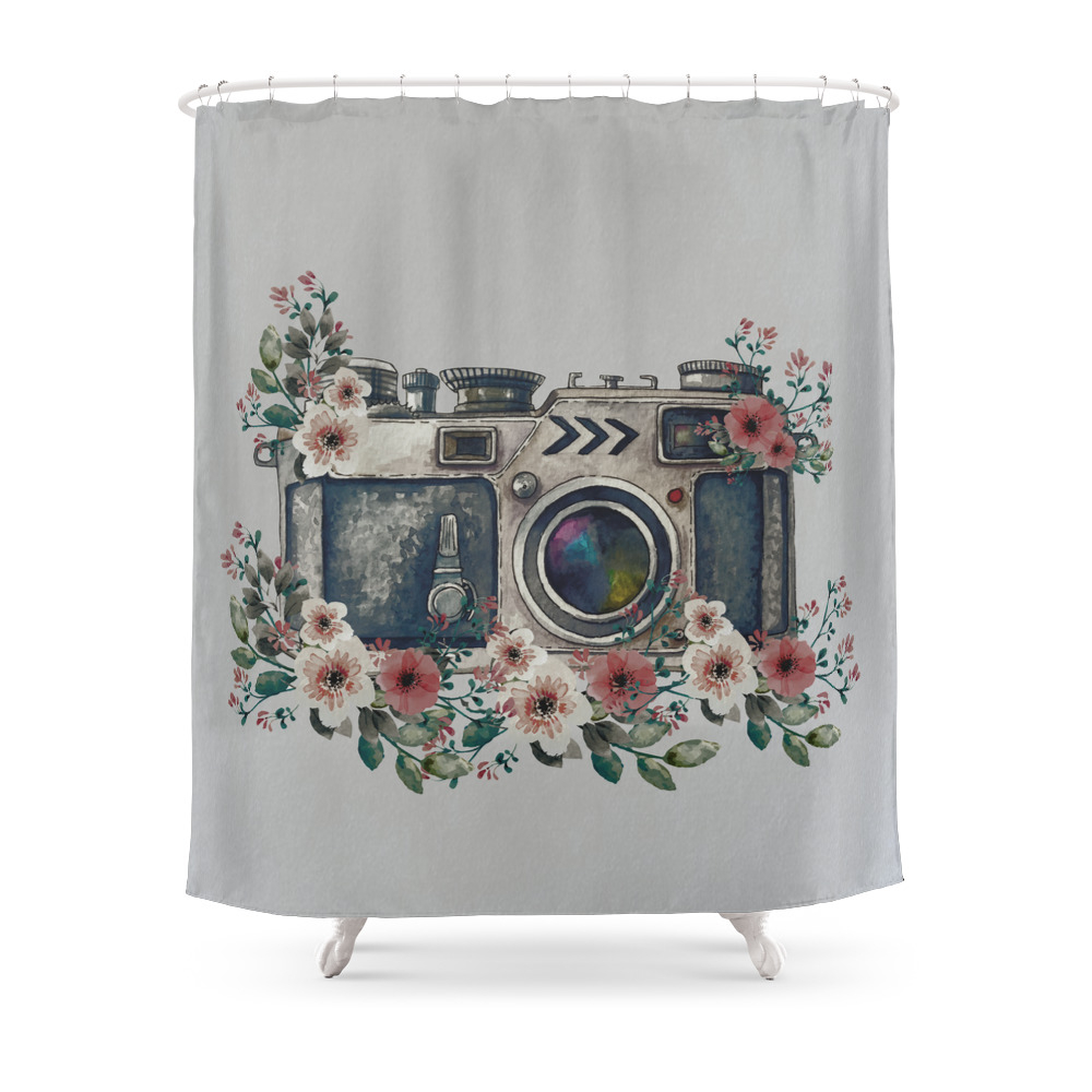 Camera With Summer Flowers Shower Curtain by nadja1