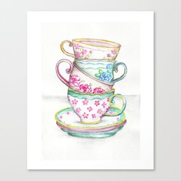 Tea Cup Art Kitchen Watercolor Painting Drawing Canvas Print