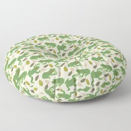 Fun Frogs with Leaves from Trees Floor Pillow