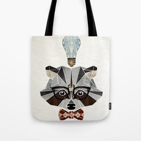 raccoon nerd Tote Bag