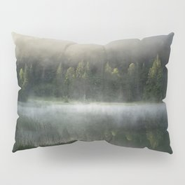 Magic Misty Lake. Amazing shot of a wooden house in the Ferchensee lake in Bavaria, Germany, in front of a mountain belonging to the Alps. Scenic foggy morning scenery at sunrise. Pillow Sham