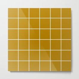 Mustard Grid Metal Print