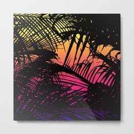 Tropical Black Palm Fronds on Pink Orange Yellow Metal Print