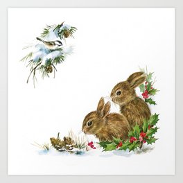 Winter in the forest - Animal Bunny Illustration Art Print