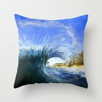 Throw Pillows featuring Wipe out by Bunny Clarke