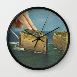 Serving up cake by the seaside - Cake slice Wall Clock