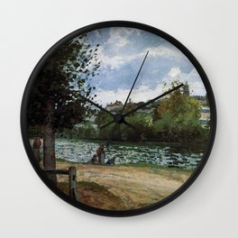 The banks of the Oise River in Pontoise by Camille Pissarro Wall Clock