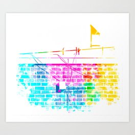 brick building with colorful painting abstract in pink blue yellow green red Art Print