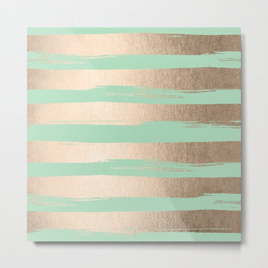 Painted Stripes Gold Tropical Ocean Green Metal Print