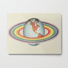 Psycho-harmonial philosophy - Peter Pearson - 1910  Rainbow Saturn Rings Around Earth Metal Print