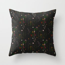 Floral Wallroll - Dark Throw Pillow