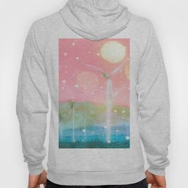 wind turbine in the desert with snow and bokeh light background Hoody