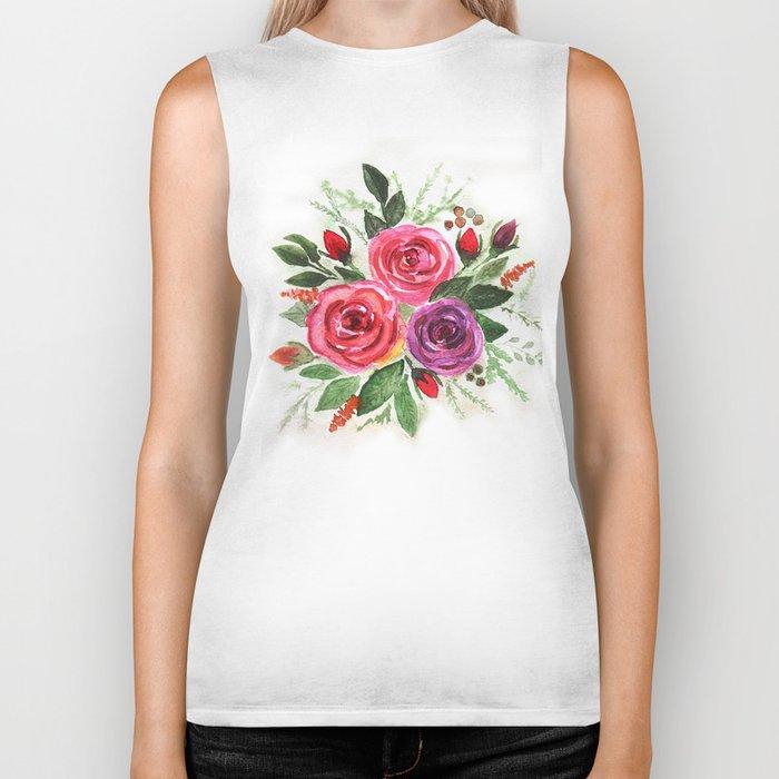 Watercolor floral pattern . Roses. Biker Tank
