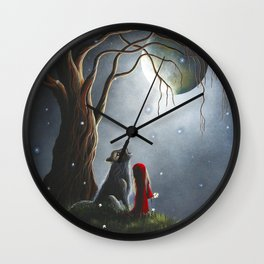 Night With The Lone Wolf by Shawna Erback Wall Clock