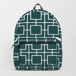 Emerald Greek Key pattern Backpack