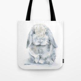 Mini Lop Gray Rabbit Watercolor Painting Tote Bag