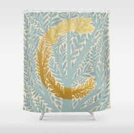 Botanical Metallic Monogram - Letter C Shower Curtain