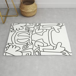 Mirrored mask doodle Rug