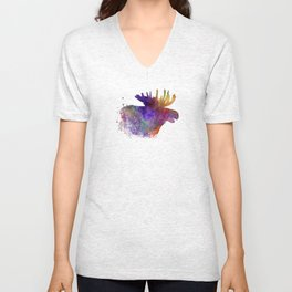 Moose 06 in watercolor Unisex V-Neck