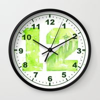 seahawks Wall Clocks featuring 12th Man Seattle Art by Olechka