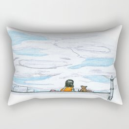 The little girl in orange. Watching the clouds pass over the sky Rectangular Pillow