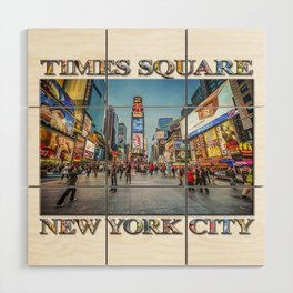 Times Square Sparkle (with typography) Wood Wall Art