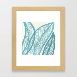 Blue Banana Leaf Framed Art Print