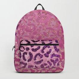 Pink Purple Glitter Leopard Animal Print Gradient Backpack
