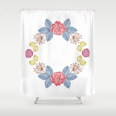 Hand Drawn Floral Wreath Design Shower Curtain
