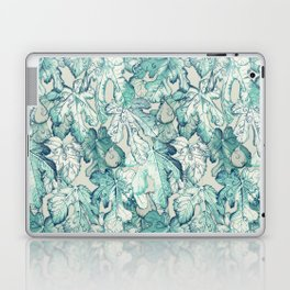 Fig Leaf Fancy - a pattern in teal and grey Laptop & iPad Skin