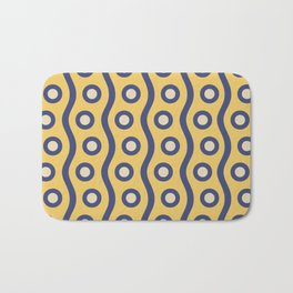 Mid Century Modern Rising Bubbles Pattern Blue and Yellow Bath Mat