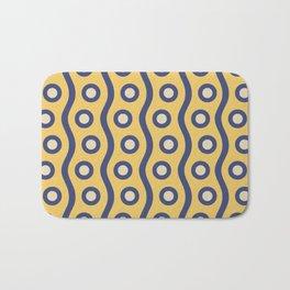 Mid Century Modern Rising Bubbles Pattern Blue and Yellow Bath Mat