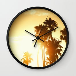 palm on venice at sunset Wall Clock