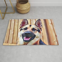 Happy German Shepherd Rug