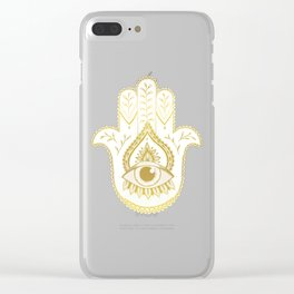 Hamsa Hand - Gold Clear iPhone Case