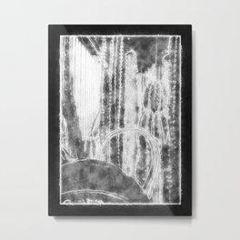 Cactus Garden Outlined Black Metal Print