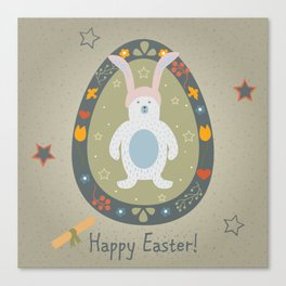 Festive Easter Egg with Cute Bear Character Canvas Print