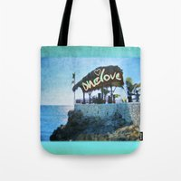 jamaica Tote Bags featuring One Love… Jamaica by NisseDesigns