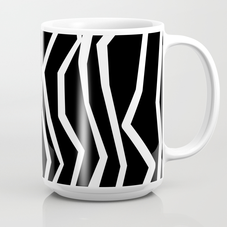 Wavy Edgy Coffee Zag Zig Lines And Black White Mug CeoWrdxBQ