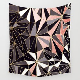 Stylish Art Deco Geometric Pattern - Black, Coral, Gold #abstract #pattern Wall Tapestry