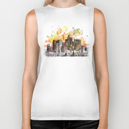 Los Angeles Cityscape Skyline Painting Biker Tank