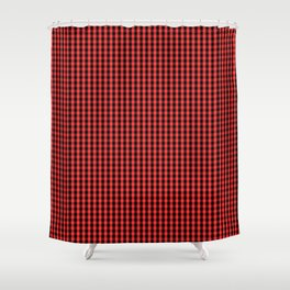 Small Black and Donated Kidney Pink Halloween Gingham Check Shower Curtain