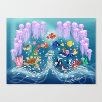 finding nemo Canvas Prints featuring Sea Wallpainting by princessbeautycase