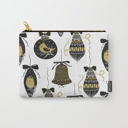 Black and Gold Modern Christmas Ornament Print Carry-All Pouch