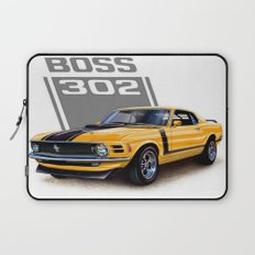 Ford Mustang Classic. BOSS 302 in Yellow, American Muscle Cars. Laptop Sleeve