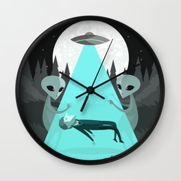 ufo alien abduction Wall Clock