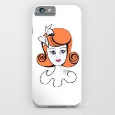 Cute Vintage Fashion Doll Sketch (Orange hair & pink lips)  Slim Case iPhone 6s