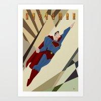 Art Deco Superman 4 Art Print