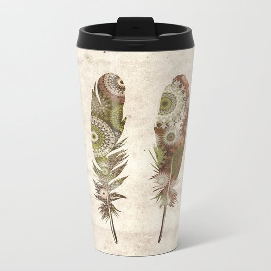 vintage mandala feathers Metal Travel Mug