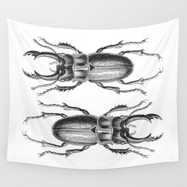 Vintage Beetle black and white Wall Tapestry
